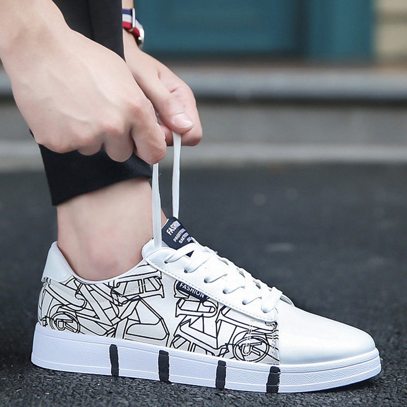 Men's Graphic Print Canvas Shoes Lace Up Hot Trend Fashion White Sole Style