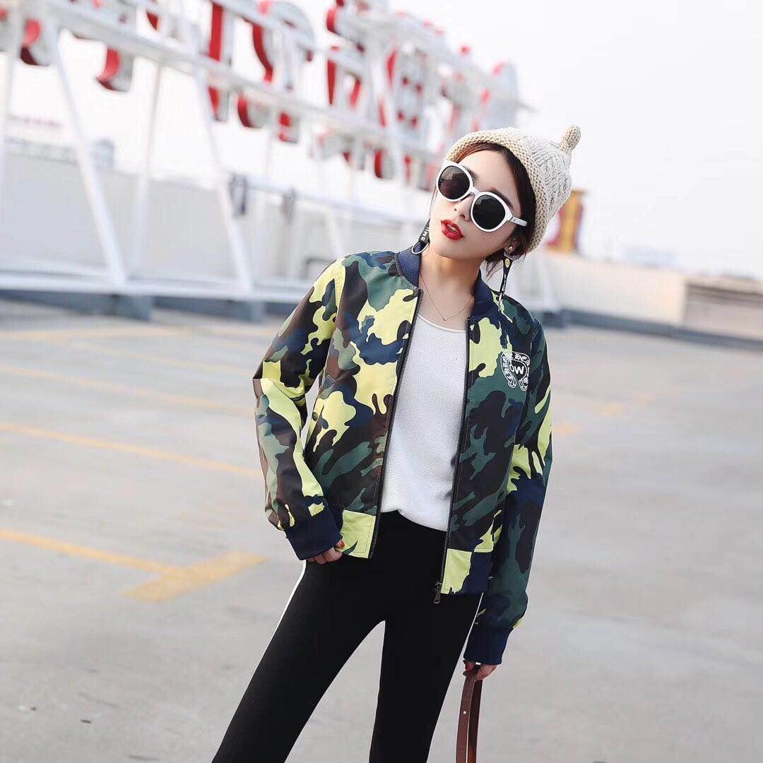 Women Camouflage Retro Jacket Baseball Style Jacket Ladies Fashion Outerwear