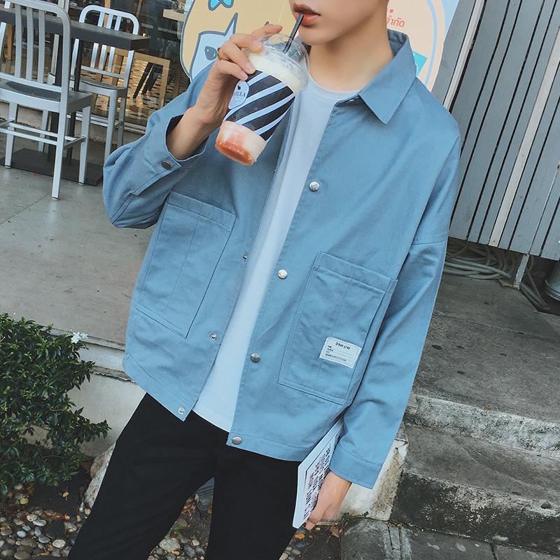 Men's Light Colored Plain Simple Spring Fashion Coat Couple Plus Size Jacket