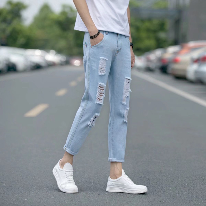 Men\'s Washed Blue Denim Tattered Jeans Retro Style Summer Male Fashion Pants
