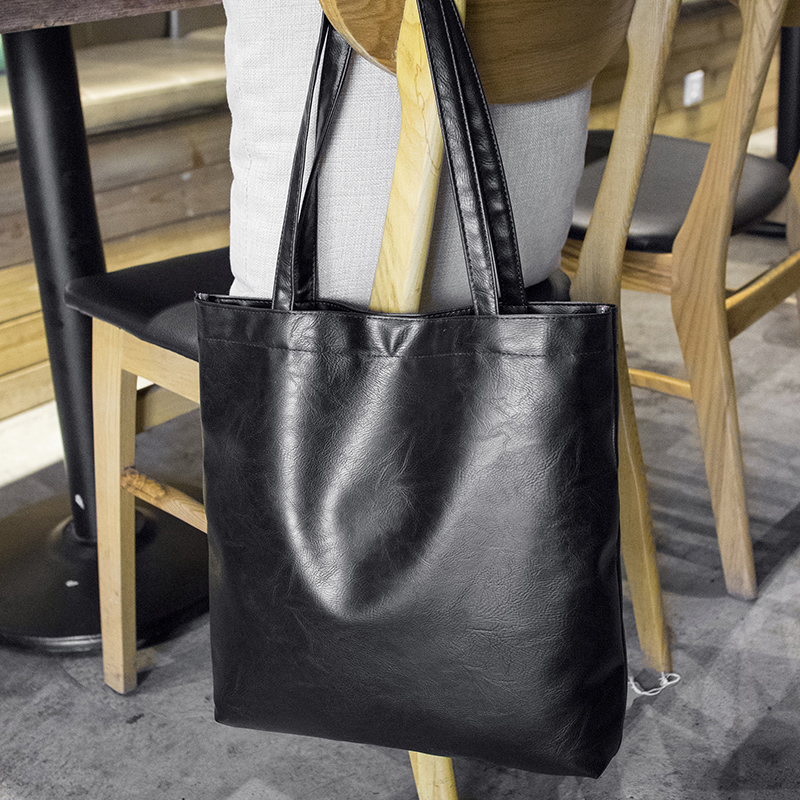 Women Simple Casual Tote Bag Solid Color Large Capacity Fashion Shoulder Bag