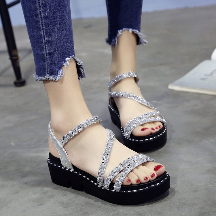 Women Sequins Shiny Roman Sandals Muffin Bottom Retro Trend Fashion Sandals