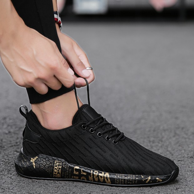 Men's Sports Leisure Mesh Shoes New Trend Handsome Statement Lace Up Shoes