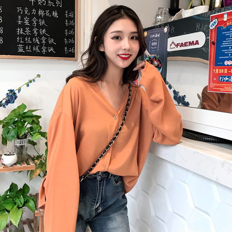 Women Chiffon V Neck Cardigan Solid Color Loose Long Sleeve Button Top Outerwear