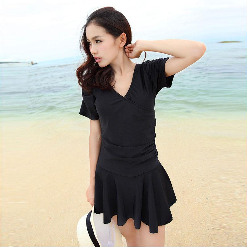 Women Black Skirt Swimsuit Conservative Style Low Back Plus Size Summer Swimsuit