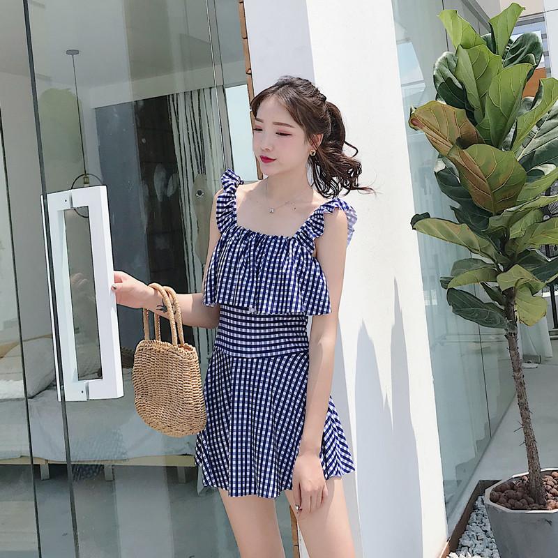 Women Checkered Conservative Skirt Swimwear Summer Fashion Dress Swimsuit