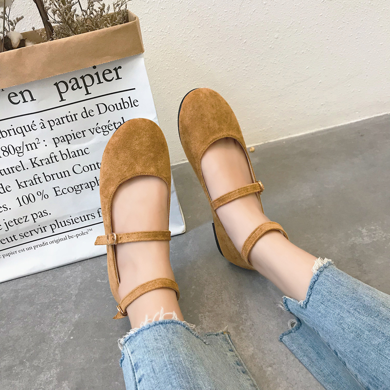 Women Suede Doll Shoes Double Buckle Simple Fashion Comfort Wear Ladies Flats