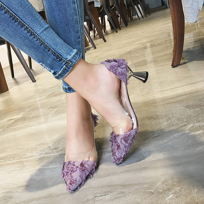 Women Retro Pointed Stiletto Transparent Wild Style High Heel Shoes Fashion Shoe