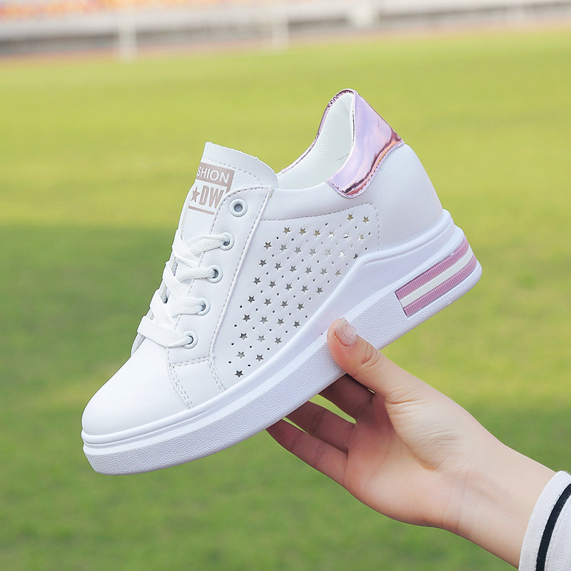 Women Breathable Lace Up Sneakers Thick Bottom Fashionable Sports Leisure Shoes