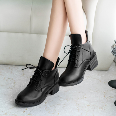 England Lace Martin Boots Middle Heel