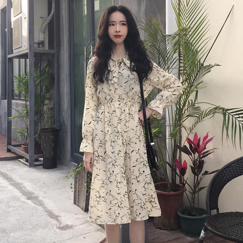 Women\'s Chiffon Stand Collar Bow Tie Print Autumn Fashion Long Sleeve Floral Dress