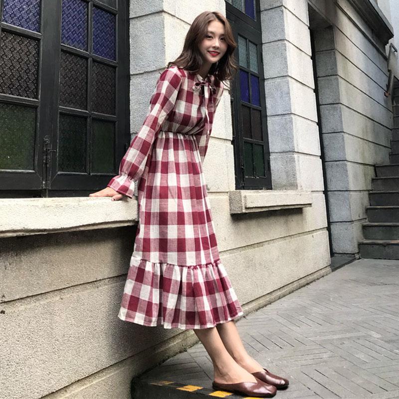 Women's Chiffon Stand Collar Bow Tie Print Autumn Fashion Long Sleeve Floral Dress