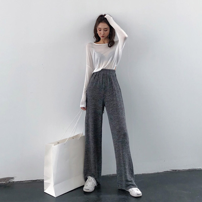 Women Retro Solid Color Wide Leg Fashion Loose Fit Casual Trousers