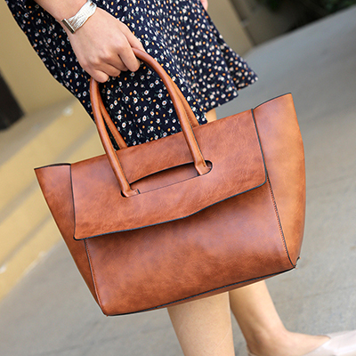 Women Retro Simple Handbag Trendy Large Shoulder Bag