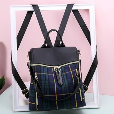 Women\'s Nylon Cloth Plaid Zipper Backpack Student Large Travel Bag