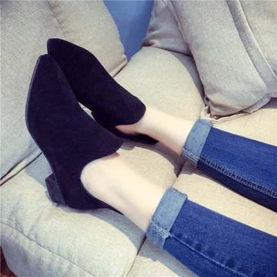 Women's Round Head Martin Ankle Boots Chunky Heels