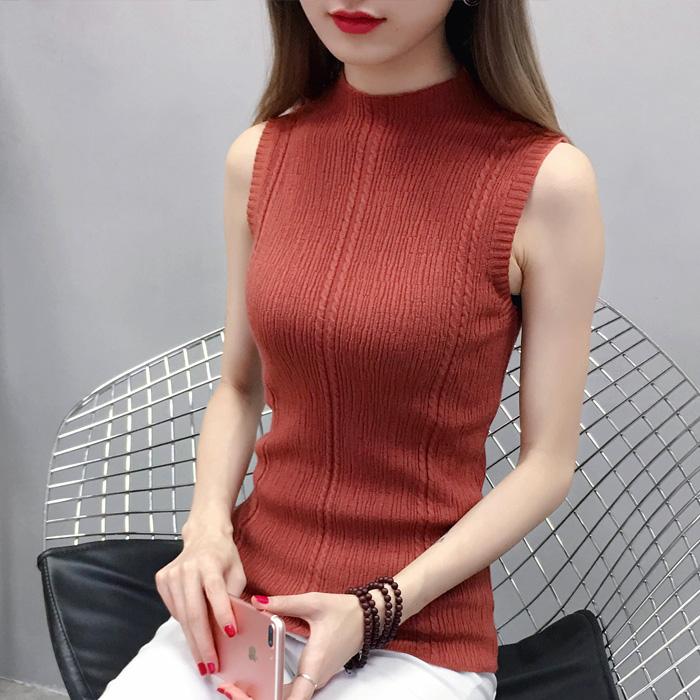 Women\'s Half-High Collar Knit Slim Fit Sleeveless Top Shirt