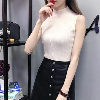 Women's Half-High Collar Knit Slim Fit Sleeveless Top Shirt
