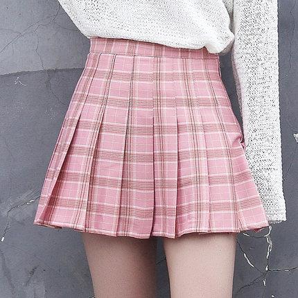 Women's Chic High Waist Plaid Pleated Short Skirt