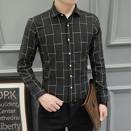 Men's Long-Sleeved Checkered Collared Business Casual Shirt