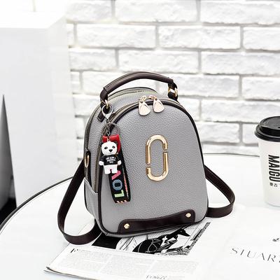 Women's New Small Round Plain Zipper Backpack