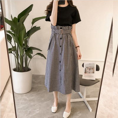 Women Large Size Cover Belly Two Set Long Pencil Skirt Round Neck Dress
