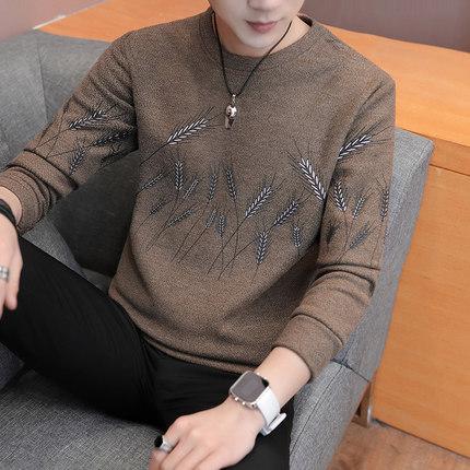 Men\'s Autumn Long-Sleeved Shirt Round Neck Slim Fashion Plus Size Tees