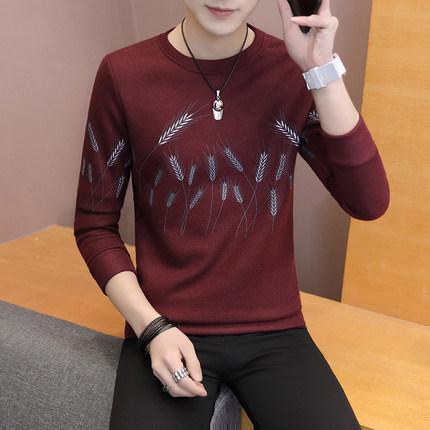 Men's Autumn Long-Sleeved Shirt Round Neck Slim Fashion Plus Size Tees