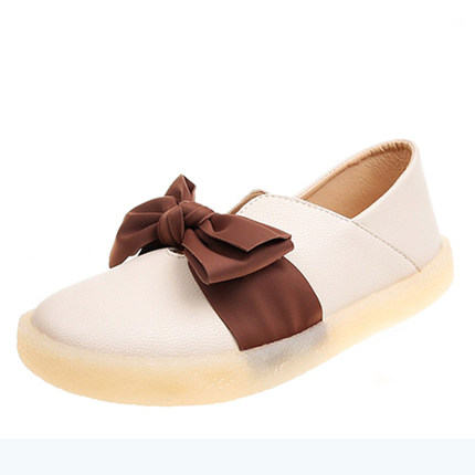 Women Summer Bow Soft Leather Tendon Soft Bottom Student Flat Peas Shoes