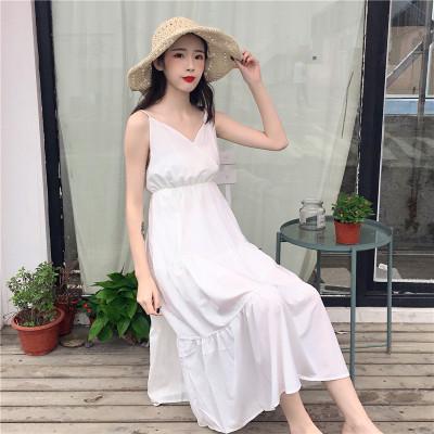 Women Summer Large Size High Waist Dress Thin V-Neck Waist Sling Dress