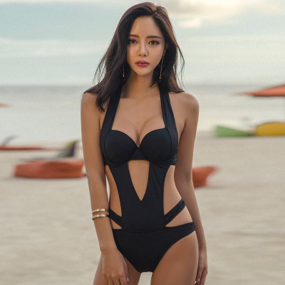 Women Sexy Black Hollow Size Chest Steel Plate Bikini One Piece Strap Swimwear