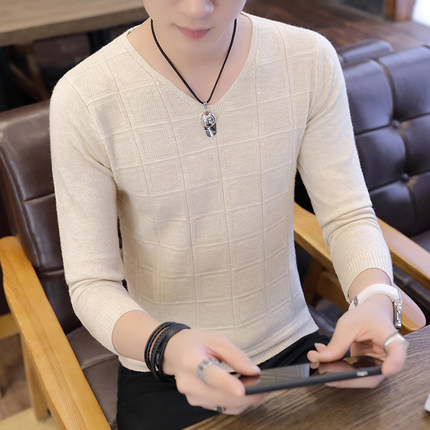 Men\'s Long Sleeved T-Shirt V-Neck Sweater Solid Color Plus Size Tees