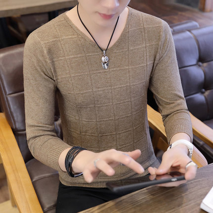 Men's Long Sleeved T-Shirt V-Neck Sweater Solid Color Plus Size Tees