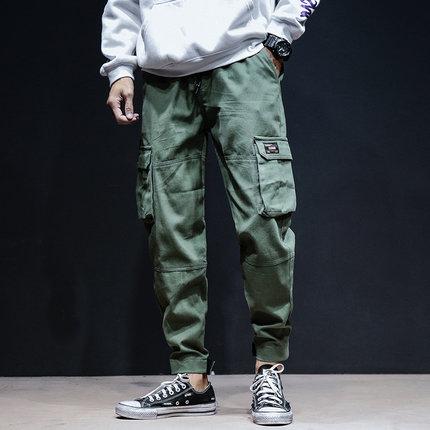 Men\'s Loose Straight Pants Multi-Pocket Hip Hop Plus Size Cotton Pants