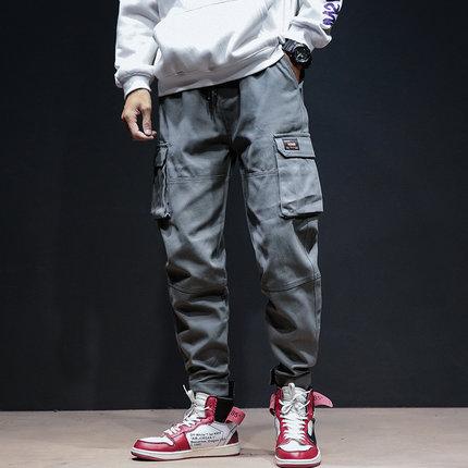 Men's Loose Straight Pants Multi-Pocket Hip Hop Plus Size Cotton Pants