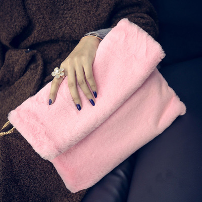 Women Hairy Bag Hand Grip Clutch Hand Chain Envelope Bag