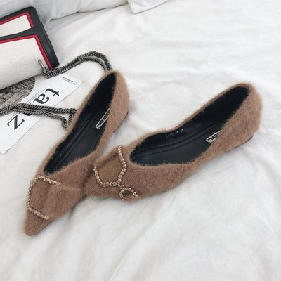 Women Woolen Shoes Metal Buckle Shallow Mouth Pointed Shoes