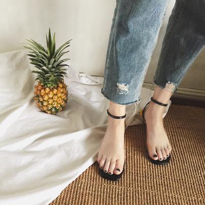 Women\'s Transparent Sandals Open Toe Flat Shoes Buckle Sandals