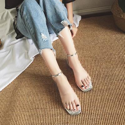 Women's Transparent Sandals Open Toe Flat Shoes Buckle Sandals