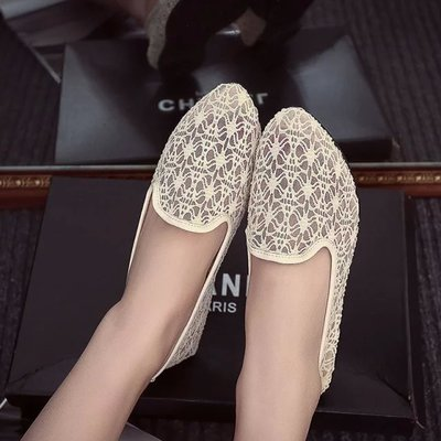 Black Flats Net Women Shoes