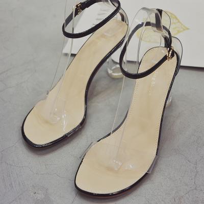 Women Summer Sandals Transparent High Heels Buckle Open Toe Shoes