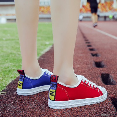 Women\'s Color Matching Canvas Plus Size Shoes Two-Color Casual Student Shoes