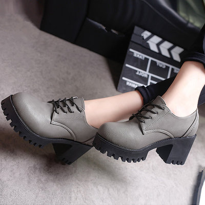 Women Retro Thick Shoes High-Heeled Round Head College Plus Size Shoes