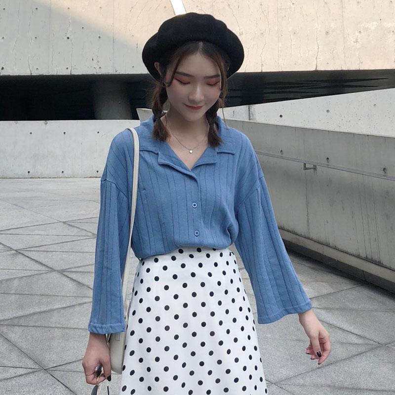 Women\'s Solid Color V-Neck Tops Wide Sleeved Long Sleeved Cardigan Shirt