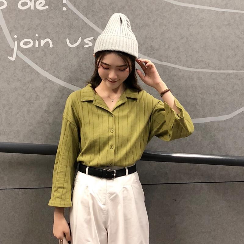 Women's Solid Color V-Neck Tops Wide Sleeved Long Sleeved Cardigan Shirt