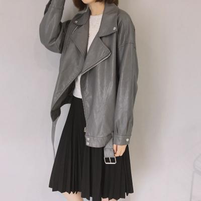 Women Motorcycle Lapel Matte PU Leather Loose Long Sleeve Jacket Cardigan Coat