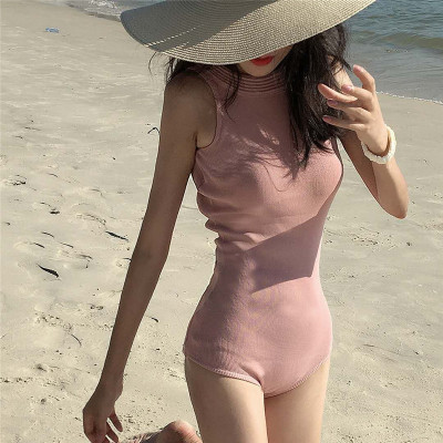 Women Sexy Open Back Bow Tie One-Piece Swimsuit Hanging Neck Swimsuit
