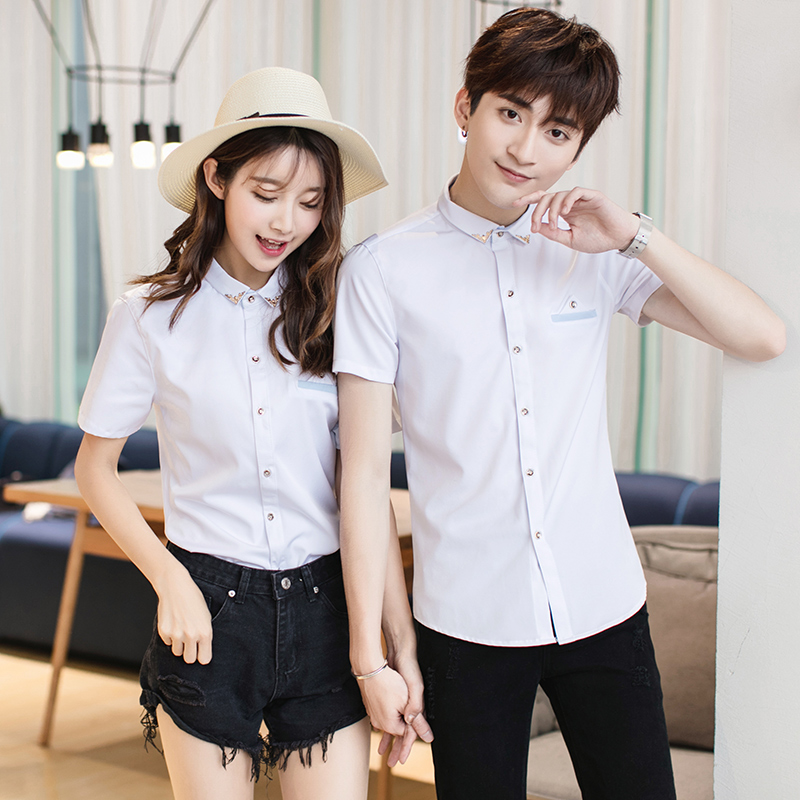 Men\'s Collared Short Sleeved Shirt Couples Daily Slim Fit Plus Size Shirt