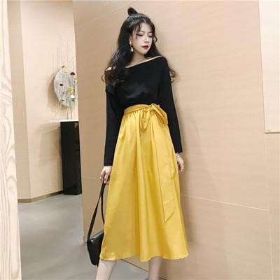 Women High Waist Slim Bow Tie Large Dress Long Sleeve Off Shoulder Dress