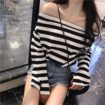 Women Off Shoulder Loose Shirt Long Sleeved Stripes Contrast Color T-Shirt